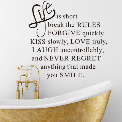 Outfit Life is Short English Word Style Wall Sticker Home Appliances Decor Wall Decals