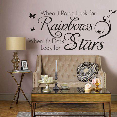 Black Rainbows And Stars English Words Style Wall Sticker