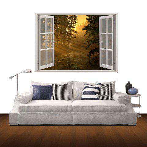 Colorful 3d Mountain Twilight Style Wall Sticker Home