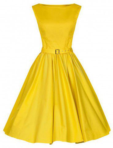 Discount Vintage Boat Neck Solid Color Sleeveless Dress For Women