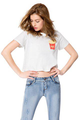 Shop Casual Style Round Neck Short Sleeve Chips Pattern Women's T-Shirt
