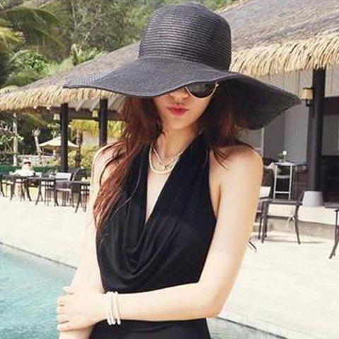 Best Broad Brimmed Beach Fedora Straw Hat RANDOM COLOR
