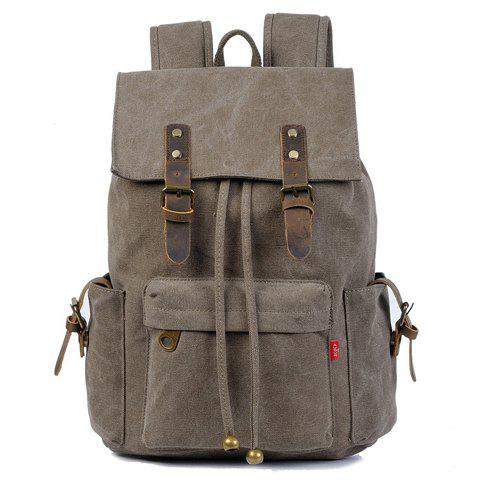 Discount Preppy Buckles and String Design Men's Backpack - DEEP GRAY  Mobile