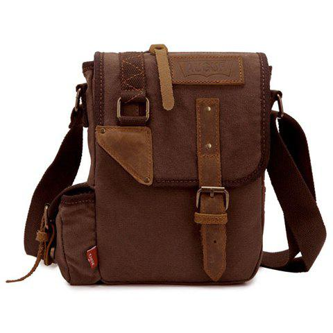 Fashionable Rivets and Buckle Design Men's Messenger Bag - Coffee - 38