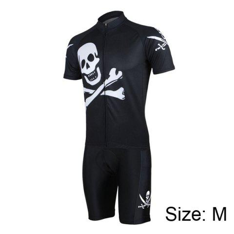 Latest Arsuxeo Skull Pattern Cycling Suits Jersey Jacket Pants Set Bike Bicycle Short Sleeve Clothes for Male -   Mobile