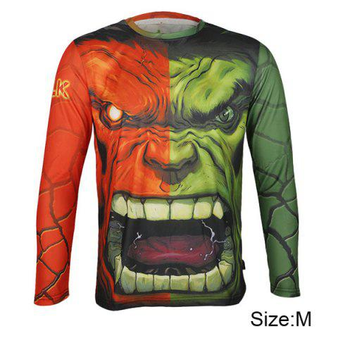 Buy Arsuxeo Hulk Style Thermal Transfer Cycling Jersey Bike Bicycle Running Long Sleeve Clothes Male - Red Green M