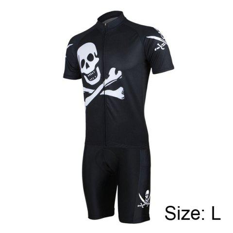 Outfit Arsuxeo Skull Pattern Cycling Suits Jersey Jacket Pants Set Bike Bicycle Short Sleeve Clothes for Male -   Mobile