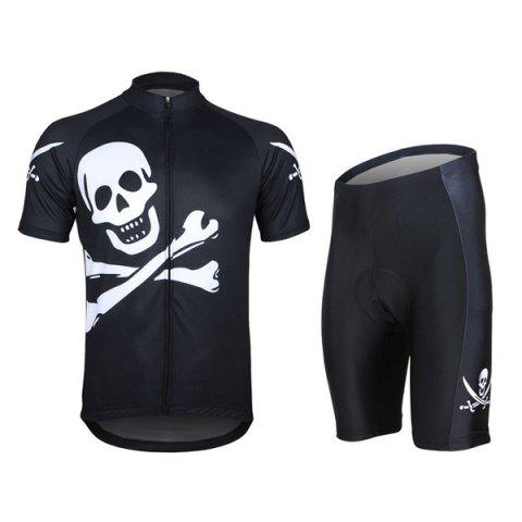 Trendy Arsuxeo Skull Pattern Cycling Suits Jersey Jacket Pants Set Bike Bicycle Short Sleeve Clothes for Male -   Mobile