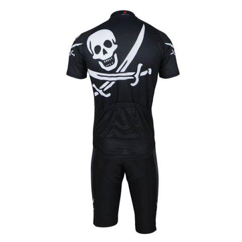 Shop Arsuxeo Skull Pattern Cycling Suits Jersey Jacket Pants Set Bike Bicycle Short Sleeve Clothes for Male -   Mobile