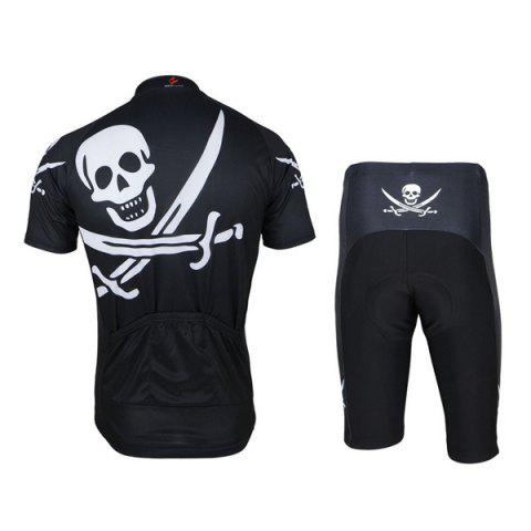 Hot Arsuxeo Skull Pattern Cycling Suits Jersey Jacket Pants Set Bike Bicycle Short Sleeve Clothes for Male -   Mobile