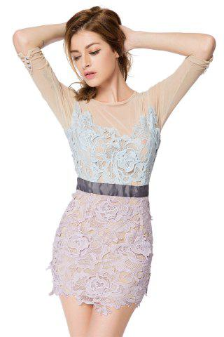 Lady Trendy Style Round Collar 3/4 Sleeve Crochet Flower Splicing Slimming Women's Dress - 2XL COLORMIX Mobile
