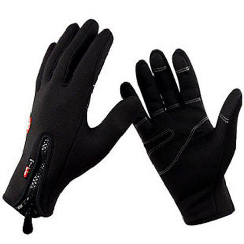Unique 2Pcs FLL Windstopper Softshell Outdoor Sports Full-finger Gloves for Winter Riding Cycling Racing - S BLACK Mobile