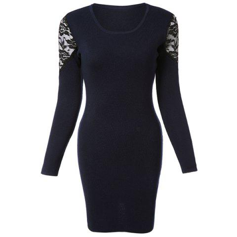 Latest Knitted Long Sleeve Dress with Lace - ONE SIZE(FIT SIZE XS TO M) SAPPHIRE BLUE Mobile