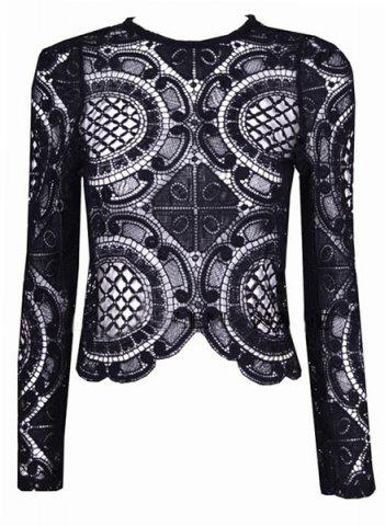 Sexy Round Collar Long Sleeve Solid Color Hollow Out Women's Blouse - Black - S