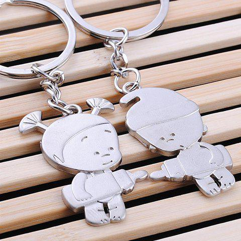 Hot Pair of Sweet Doll Pendant Key Rings For Lovers - SILVER  Mobile