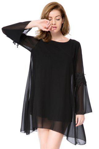 Affordable Simple Round Collar Long Sleeve Solid Color Asymmetrical Women's Dress - XL BLACK Mobile