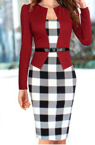 Latest Stylish Round Collar Checked Print Faux Twinset With Belt Long Sleeve Women's Dress