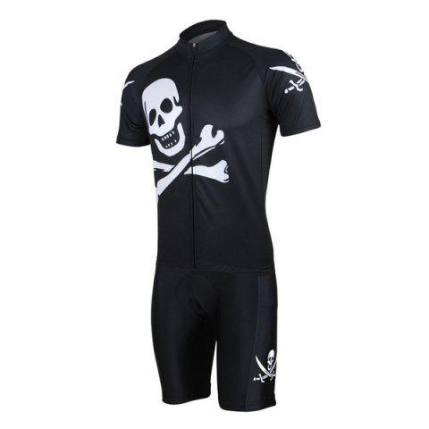 New Arsuxeo Skull Pattern Cycling Suits Jersey Jacket Pants Set Bike Bicycle Short Sleeve Clothes for Male -   Mobile
