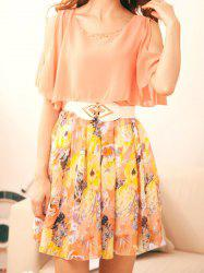 Sweet Scoop Neck Off-The-Shoulder Floral Print Short Sleeve Chiffon Dress with Belt For Women -