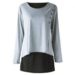 Elegant Scoop Neck Long Sleeve Faux Twinset Design T-Shirt For Women -