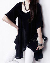 Stylish U-Neck Solid Color Irregular Hem Blouse For Women