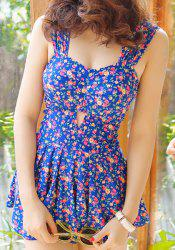 Alluring Sweetheart Neck Tiny Floral Print One-Piece Women's Swimsuit