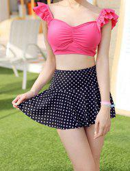 Sweet Sweetheart Neck Polka Dot Print Two-Piece Women's Swimsuit -