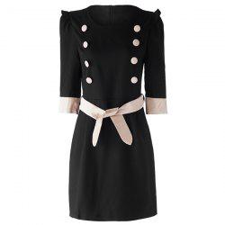 Stylish Round Neck Button Design Lace-Up 3/4 Sleeve Women's Dress - BLACK L