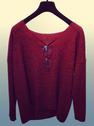 Casual Scoop Collar Long Sleeve Solid Color Loose-Fitting Women's Knitwear -
