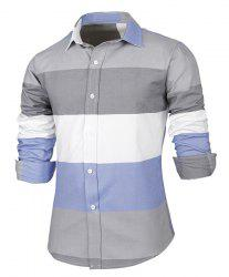 Trendy Distinct Color Block Stripes Print Turn-down Collar Slimming Long Sleeves Men's Shirt - COLORMIX