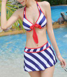Alluring Halter Bowknot Embellished Striped Three-Piece Women's Swimsuit