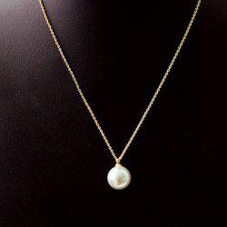Round Faux Pearl Pendant Necklace -