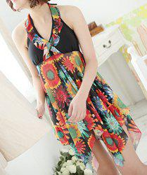 Stylish Halter Sleeveless Floral Print Asymmetrical Women's Swimwear - BLACK 2XL