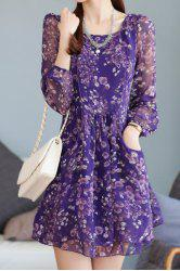 Trendy Style Scoop Neck Floral Print Long Sleeve Chiffon Dress For Women