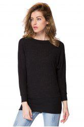 Simple Scoop Neck Long Batwing Sleeve Solid Color Slimming Knitted Women's Dress - BLACK