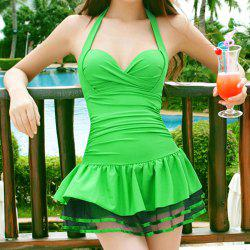 Halter One-Piece Spliced Women's Skirted Swimwear