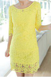 Stylish Scoop Neck Lace Crochet Flower Half Sleeve Dress For Women -