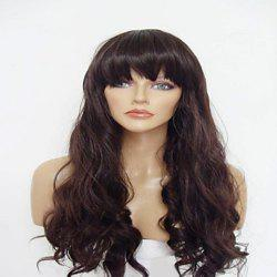 Vogue Full Bang Imported Heat-Resistant Fiber Long Wavy Brown Synthetic Wig For Women
