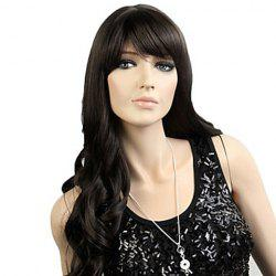 Stylish Long Wavy Natural Black Synthetic Wig With Side Bang For Women