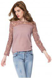 Solid Color Long Sleeve Round Collar Spliced Pullover Women's Blouse
