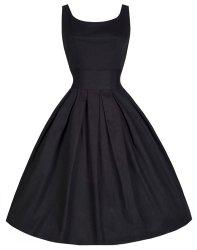 Vintage Scoop Neck Solid Color Large Hem Sleeveless Dress For Women - BLACK
