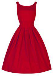 Vintage Scoop Neck Solid Color Large Hem Sleeveless Dress For Women -