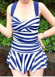 Striped Skirted One-Piece Swimsuit Slimming