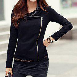 Stylish Color Splicing Long Sleeves Zippered Jacket For Women - BLACK