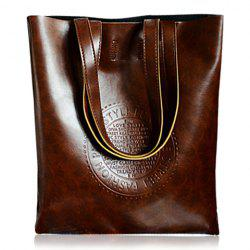 Retro Style Solid Color and Embossing Design Women's Shoulder Bag -