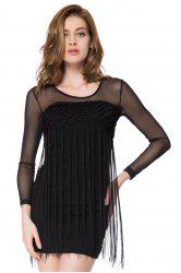 Vintage Jewel Neck Long Sleeves Fringe Solid Color Dress For Women -