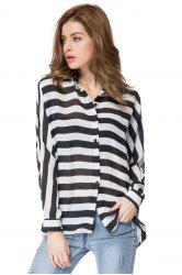 Stylish Shirt Collar Long Batwing Sleeve Striped Loose-Fitting Chiffon Women's Shirt -