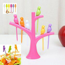 6Pcs Creative Birds on Tree Fruit Fork Set with Holder Desk Decors - PINK