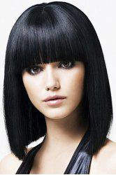 Medium Straight Black Wave Synthetic Wig With Full Bang For Women -
