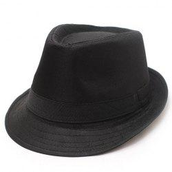 Gentle Solid Color Fedora Jazz Hat For Men - BLACK